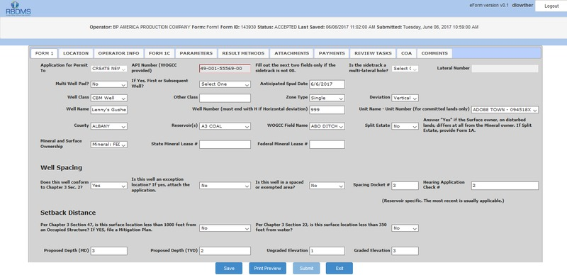 RBDMS eForms product screenshot